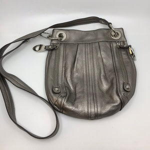 B. Makowsky Gray Leather Shoulder Bag